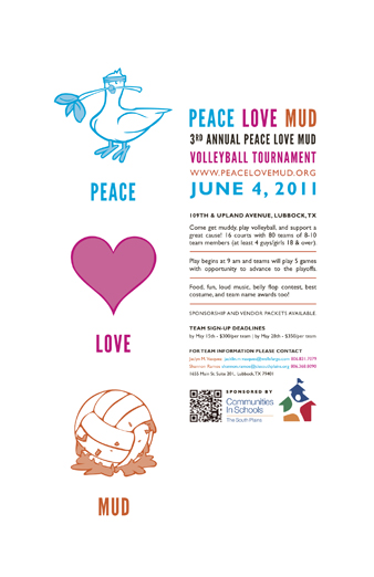 peace, love, mud poster